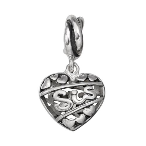 Individuality Beads Sterling Silver Sis Heart Charm