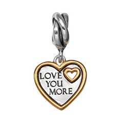 Individuality Beads Two Tone Sterling Silver 'Love You More' Heart Charm
