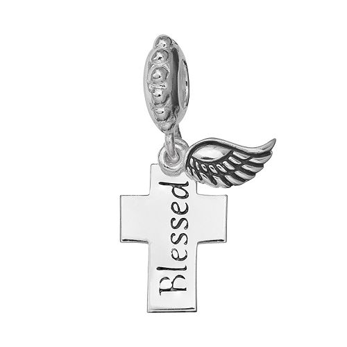 "Individuality Beads Sterling Silver ""Blessed"" Cross Charm"