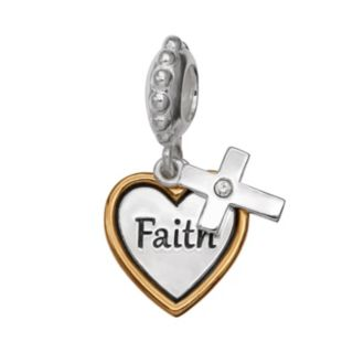 "Individuality Beads Crystal Two Tone Sterling Silver ""Faith"" Heart Charm"