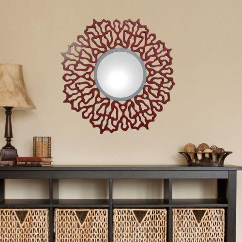 Red Swirl Wooden Wall Mirror