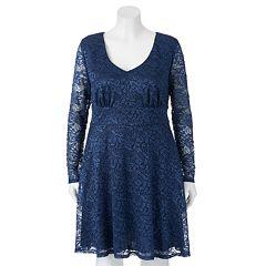 Juniors' Plus Size Trixxi Lace Skater Dress