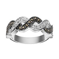 Silver Luxuries Silver-Plated Marcasite & Crystal Woven Ring