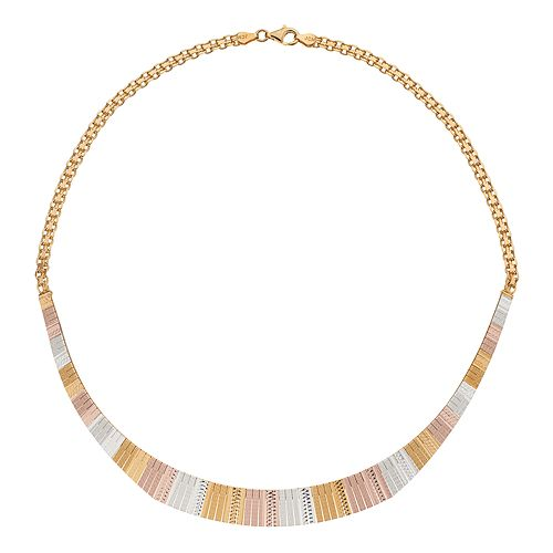 Tri-Tone Sterling Silver Textured Omega Necklace