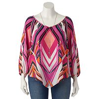 Juniors' Plus Size HeartSoul Chiffon V-Neck Top