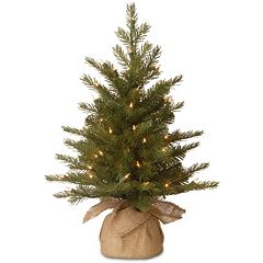 2-ft. Pre-Lit ''Feel-Real'' Nordic Spruce Artificial Christmas Tree in Burlap
