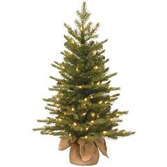 3-ft. Pre-Lit ''Feel-Real'' Nordic Spruce Artificial Christmas Tree in Burlap