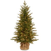 4-ft. Pre-Lit ''Feel-Real'' Nordic Spruce Artificial Christmas Tree in Burlap