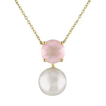 Stella Grace Rose Quartz & Freshwater Cultured Pearl Sterling Silver Necklace