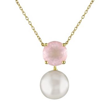 Rose Quartz & Freshwater Cultured Pearl Sterling Silver Necklace