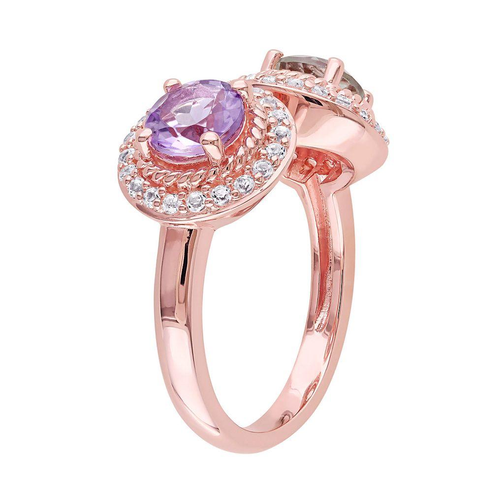 Sterling Silver Gemstone Open Halo Ring
