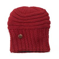 SIJJL Women's Oversized Button Wool Beanie