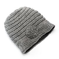 SIJJL Women's Ribbed Floral Cable-Knit Wool Beanie