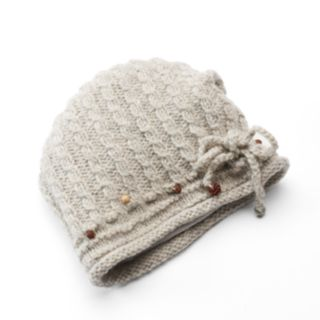SIJJL Women's Beaded Tie Accent Cable-Knit Wool Beanie