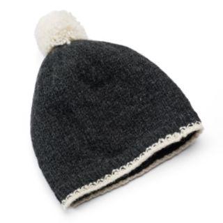 SIJJL Women's Wool Pom-Pom Beanie