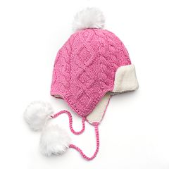 SIJJL Women's Cable-Knit Pom-Pom Wool Trapper Hat