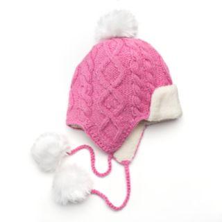 SIJJL Women's Cable-Knit Pom-Pom Wool Trapper Hat