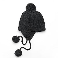 SIJJL Women's Cable-Knit Wool Trapper Hat