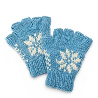 SIJJL Women's Snowflake Wool Fingerless Gloves