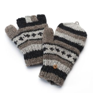 SIJJL Women's Striped Wool Convertible Mittens