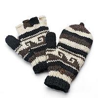 SIJJL Women's Striped Wool Convertible Mittens