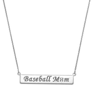 "Sterling Silver ""Baseball Mom"" Bar Necklace"