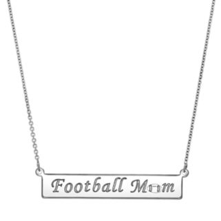 "Sterling Silver ""Football Mom"" Bar Necklace"