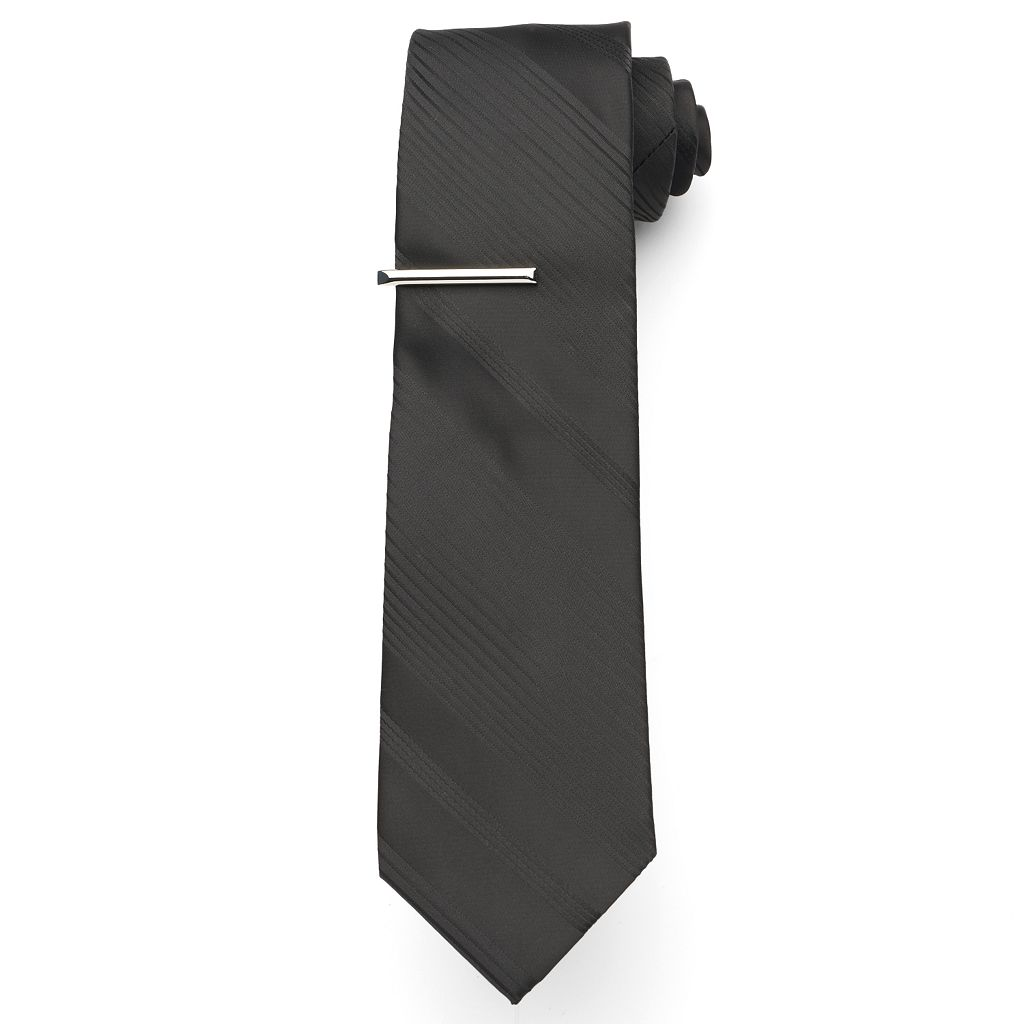 Big & Tall Extra-Long Apt. 9® Tonal-Striped Tie with Tie Bar