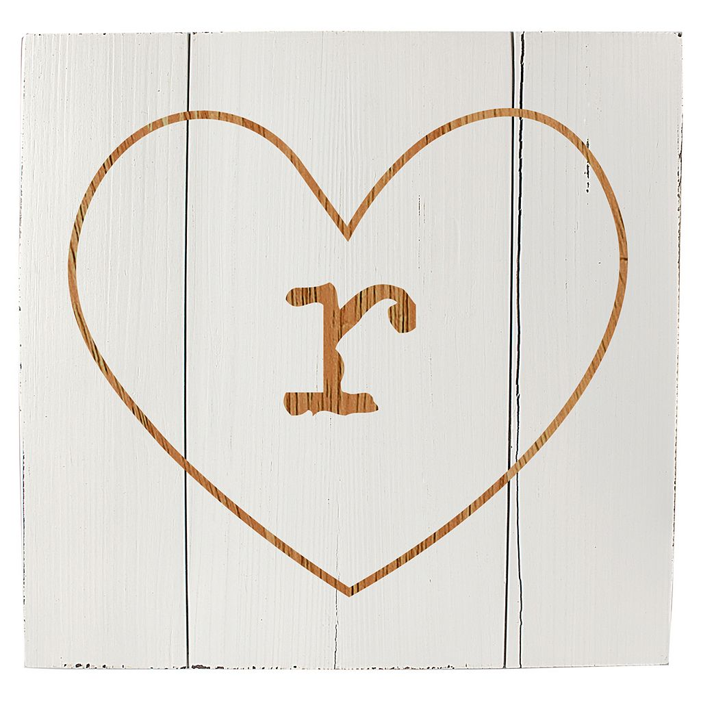Cathy's Concepts Personalized White Rustic Heart Wood Wall Art