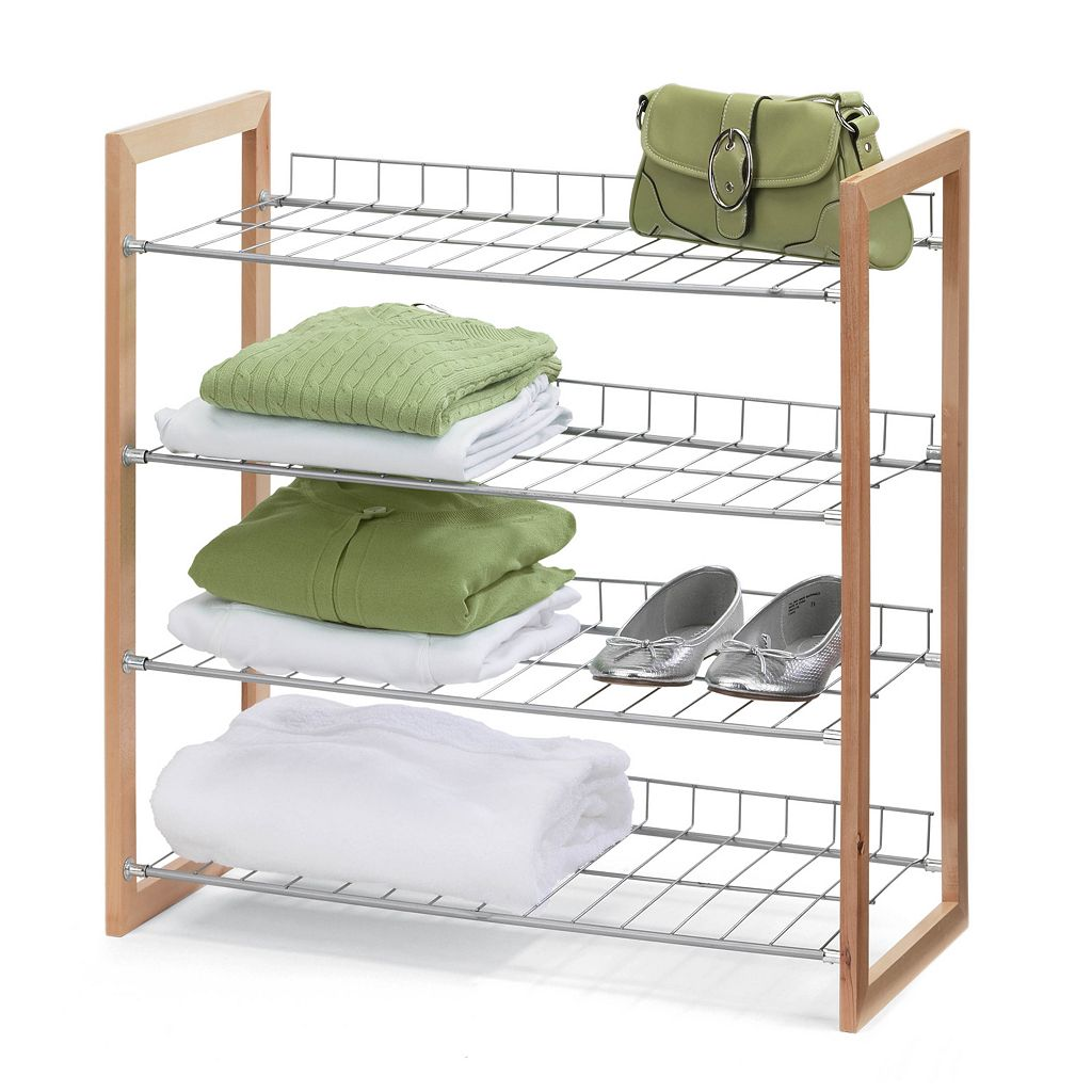 Honey-Can-Do 4 Tier Wood and Metal Storage Shelf