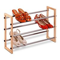 Honey-Can-Do 3 tier Expandable Wood and Metal Shoe Rack