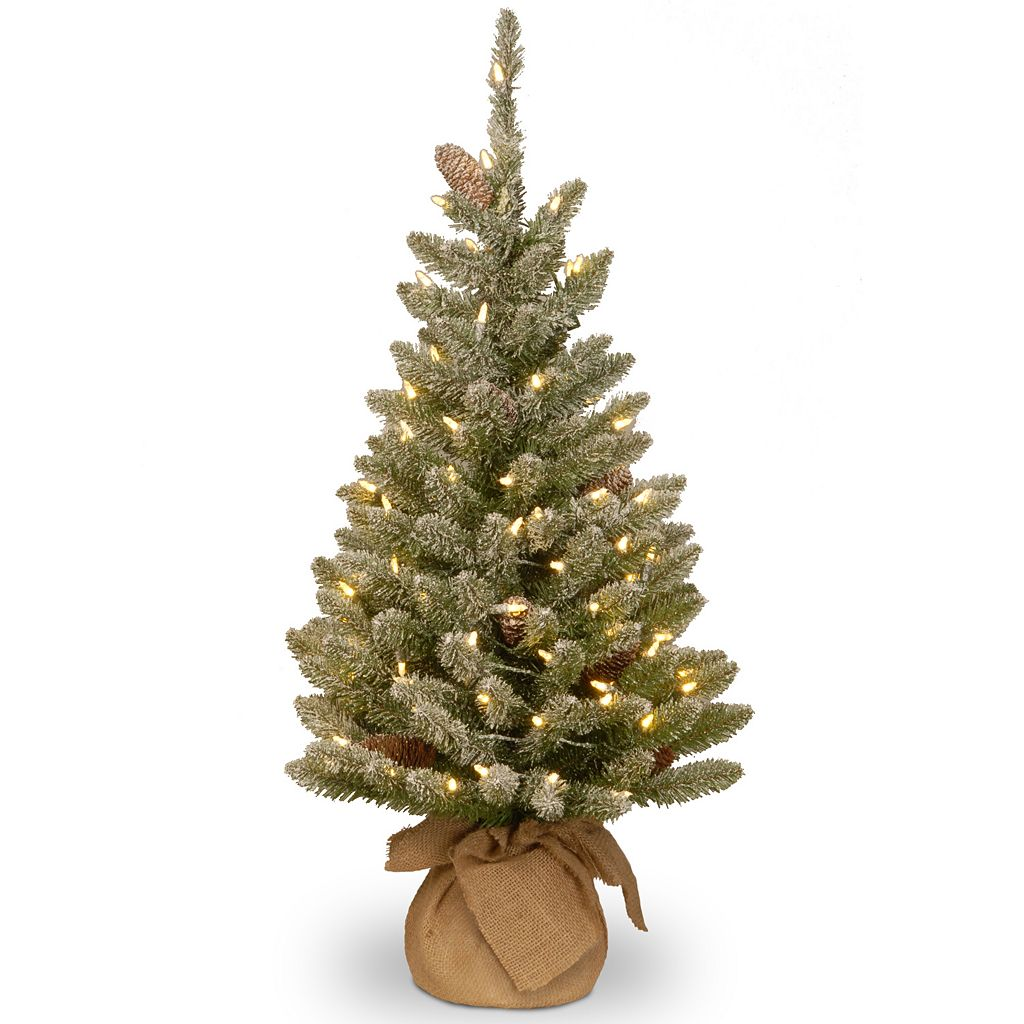 3-ft. Pre-Lit LED Snowy Concolor Fir Christmas Tree in Burlap