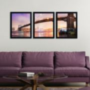 Trademark Fine Art ''Brooklyn Bridge Panoramic'' 3-pc. Framed Wall Art Set