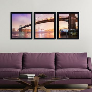 Trademark Fine Art ''Brooklyn Bridge Panoramic'' 3-pc. Framed Wall Art Set