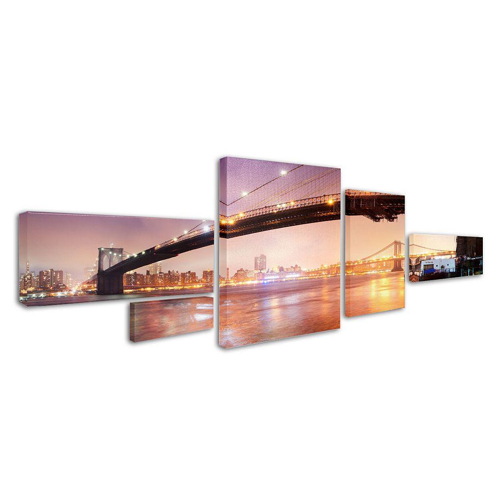 Trademark Fine Art ''Brooklyn Bridge Panoramic'' 5-pc. Wall Art Set