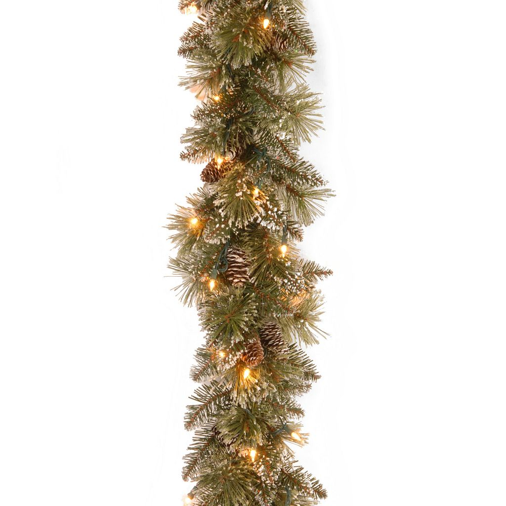 9-ft. Pre-Lit Glittery Pineone Bristle Pine Artificial Garland