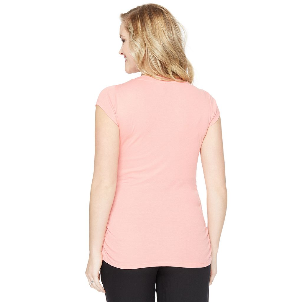 Maternity Oh Baby by Motherhood™ Ruched V-Neck Tee