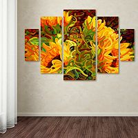 Trademark Fine Art ''Four Sunflowers'' 5 pc Wall Art Set