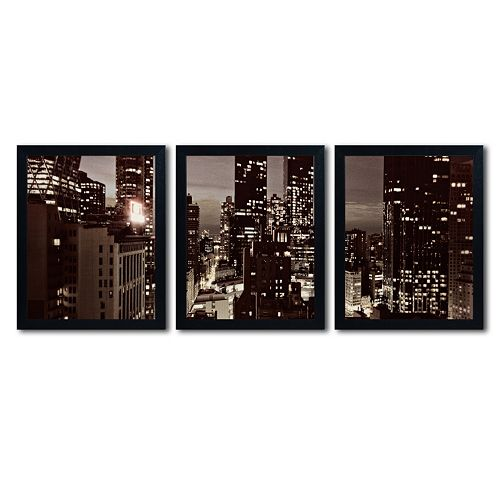 Trademark Fine Art ''NYC After Dark'' 3-pc. Wall Art Set