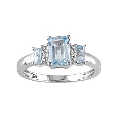 Sky Blue Topaz & Diamond Accent 10k White Gold 3-Stone Ring