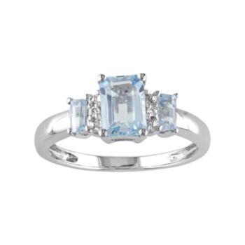 Stella Grace Sky Blue Topaz & Diamond Accent 10k White Gold 3-Stone Ring