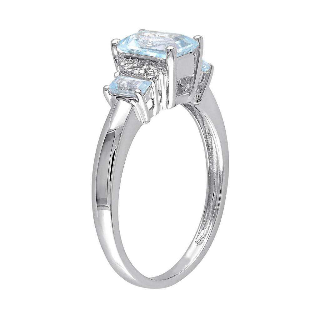 Sky Blue Topaz & Diamond Accent 10k White Gold 3-Stone Ring