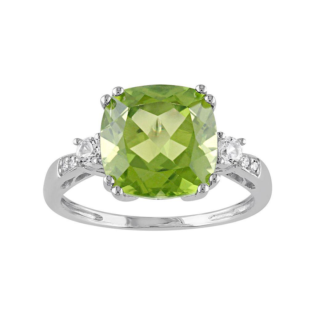 Peridot, Lab-Created White Sapphire & Diamond Accent 10k White Gold Ring