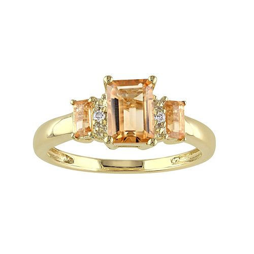 Citrine & Diamond Accent 10k Gold 3-Stone Ring