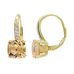 Citrine & Diamond Accent 10k Gold Drop Earrings