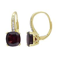 Garnet & Diamond Accent 10k Gold Drop Earrings