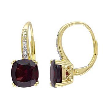Garnet & Diamond Accent 10k Gold Drop Earrings