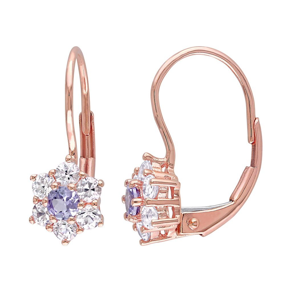 Tanzanite & White Sapphire 10k Rose Gold Flower Drop Earrings