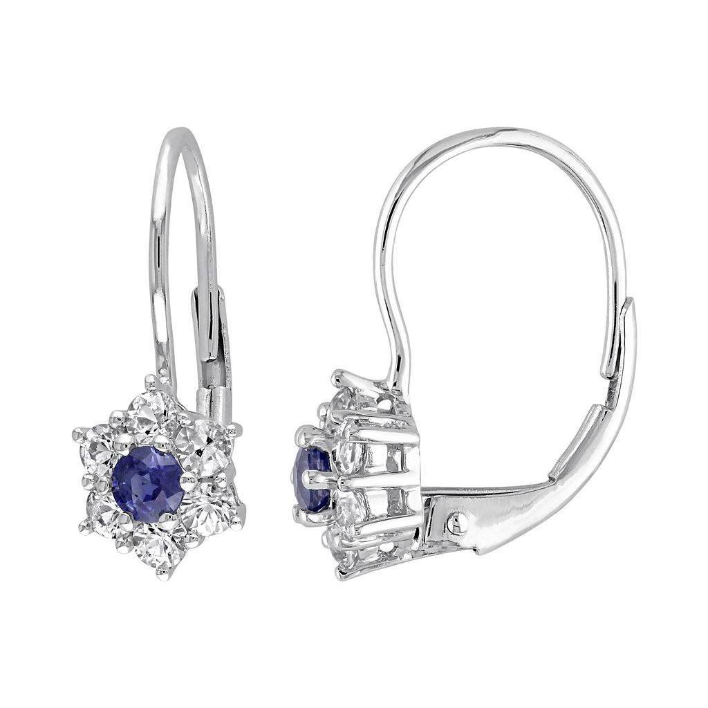 Blue & White Sapphire 10k White Gold Flower Drop Earrings