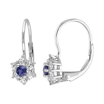 Blue & White Sapphire 10k White Gold Flower Drop Earrings